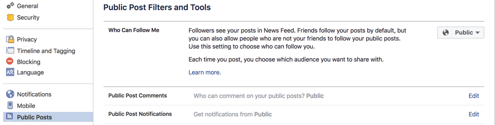 Facebook Enable Follow On Your Profile
