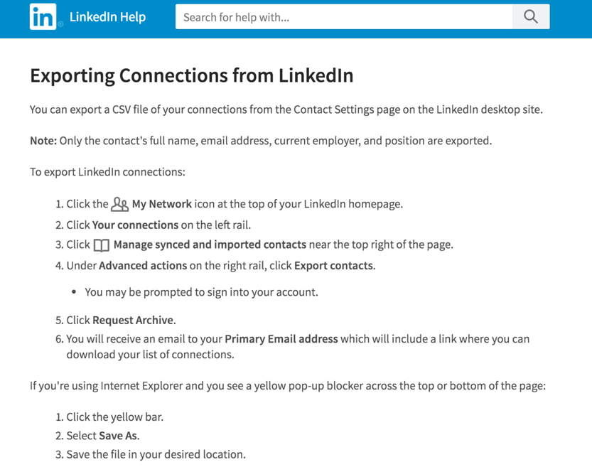 LinkedIn Export Your Connections
