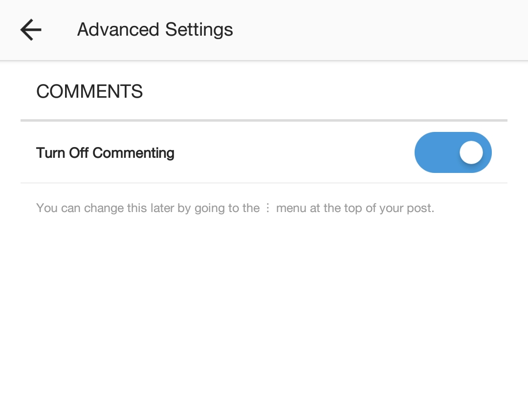 How to disable comments on Instagram