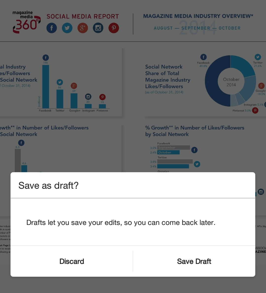 Save drafts for later on Instagram