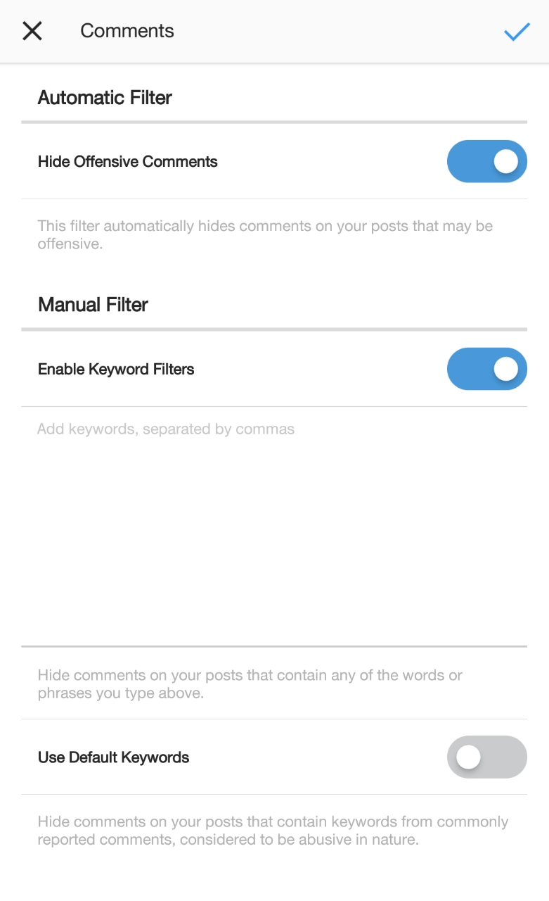 Comment controls on Instagram