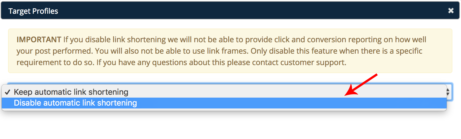 Disable Link Shortening