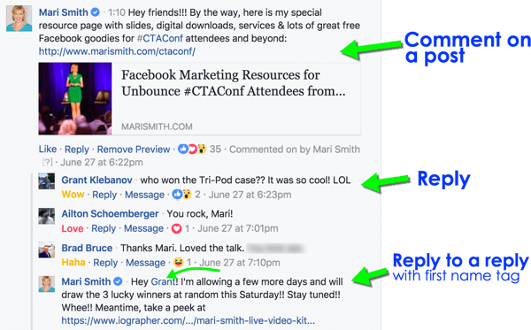 Facebook Reply To Posts Using Customer Names
