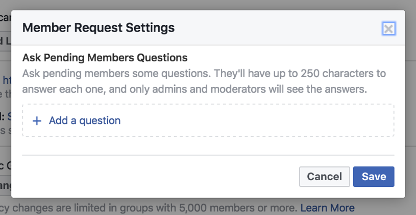 Facebook Group Member Request Settings