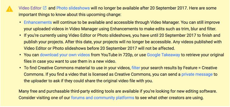 Youtube live no longer available by September 20, 2017