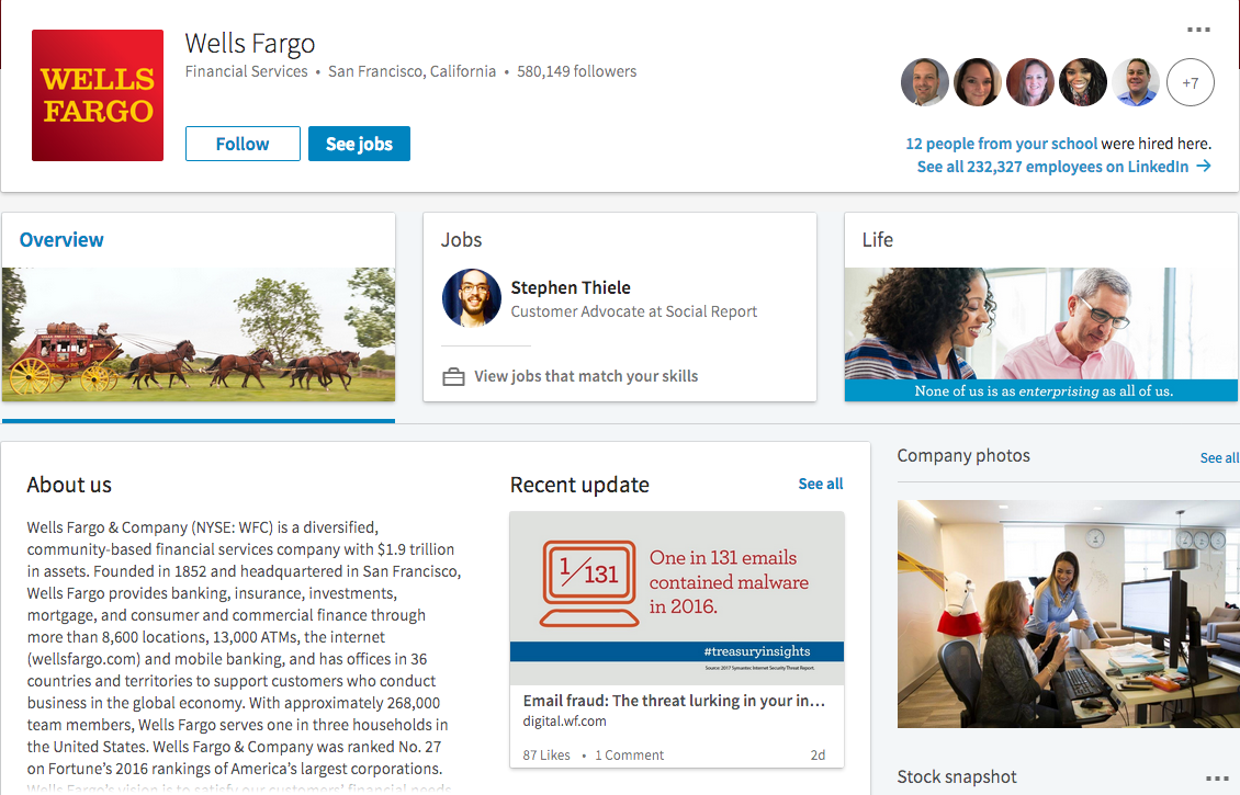 Example Of A Great LinkedIn Company Page