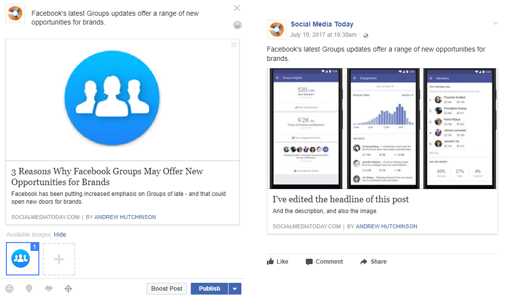 Facebook Link Preview Edit Example