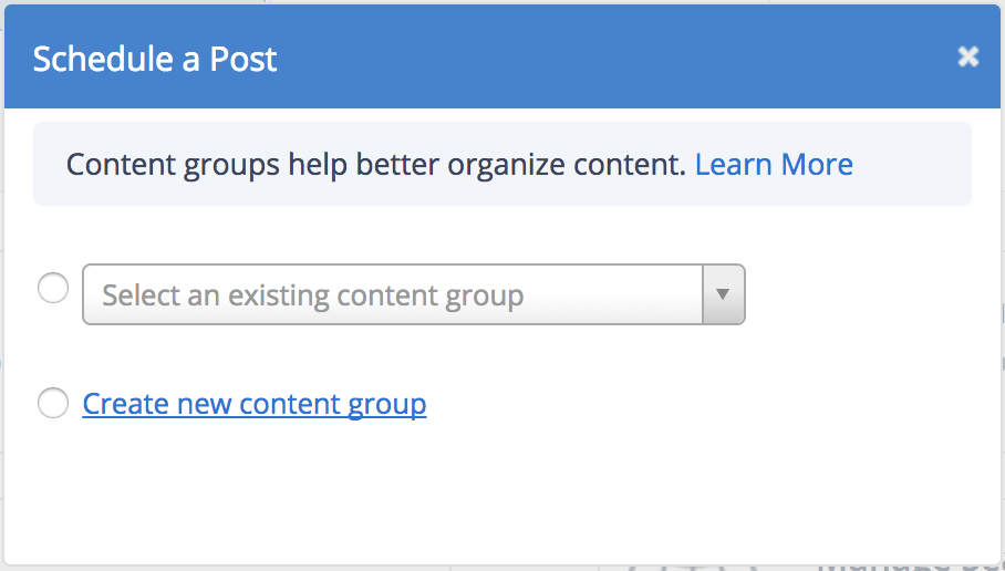 Select a content group