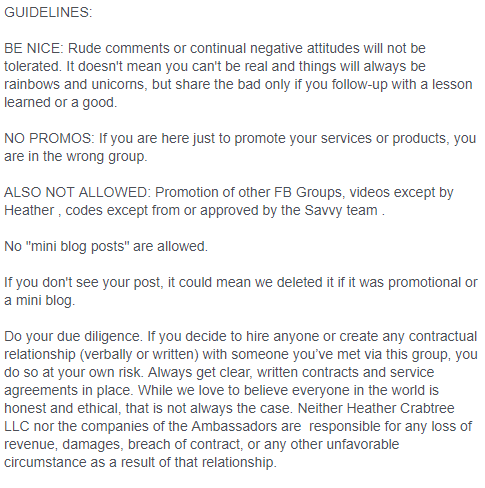 Sample Facebook Guidelines