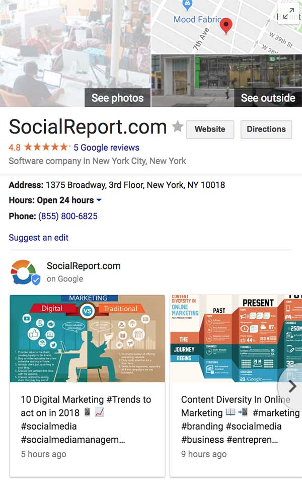 Social Report for Google My Business