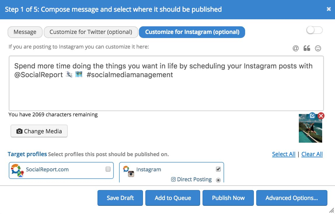 Compose an Instagram Post with Social Report