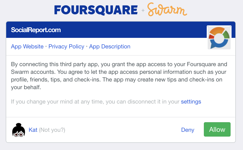 Allow Foursquare to SocialReport