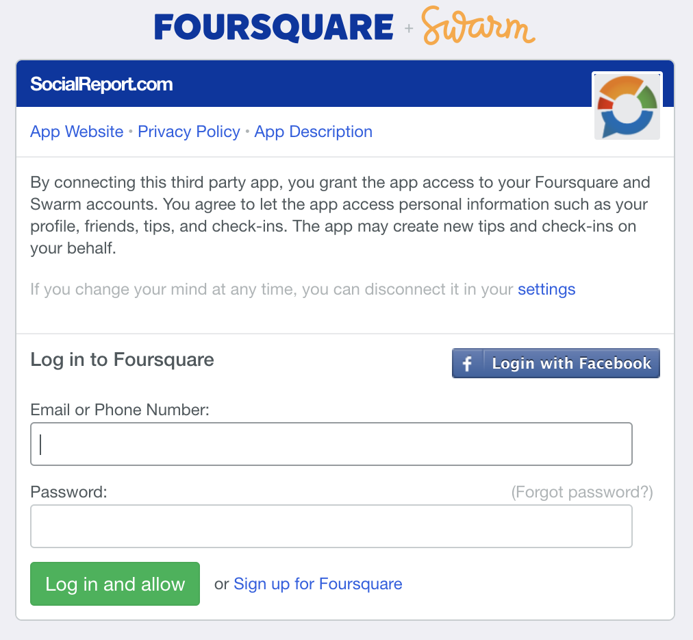 Login_Foursquare to connect SocialReport