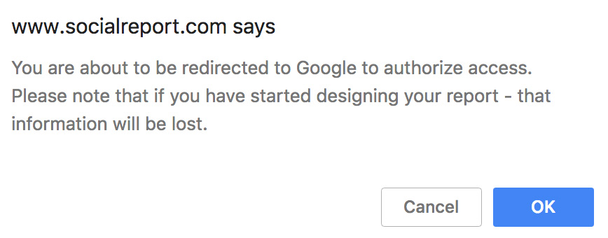 SocialReport Google access warning