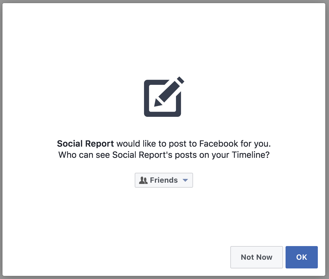 Social Report would like to post to Facebook