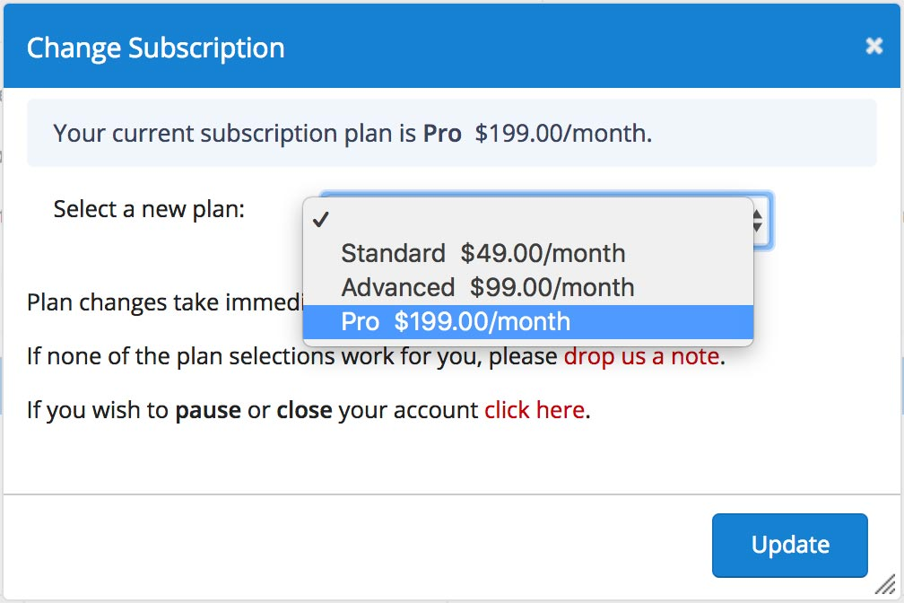 Change subscription plan
