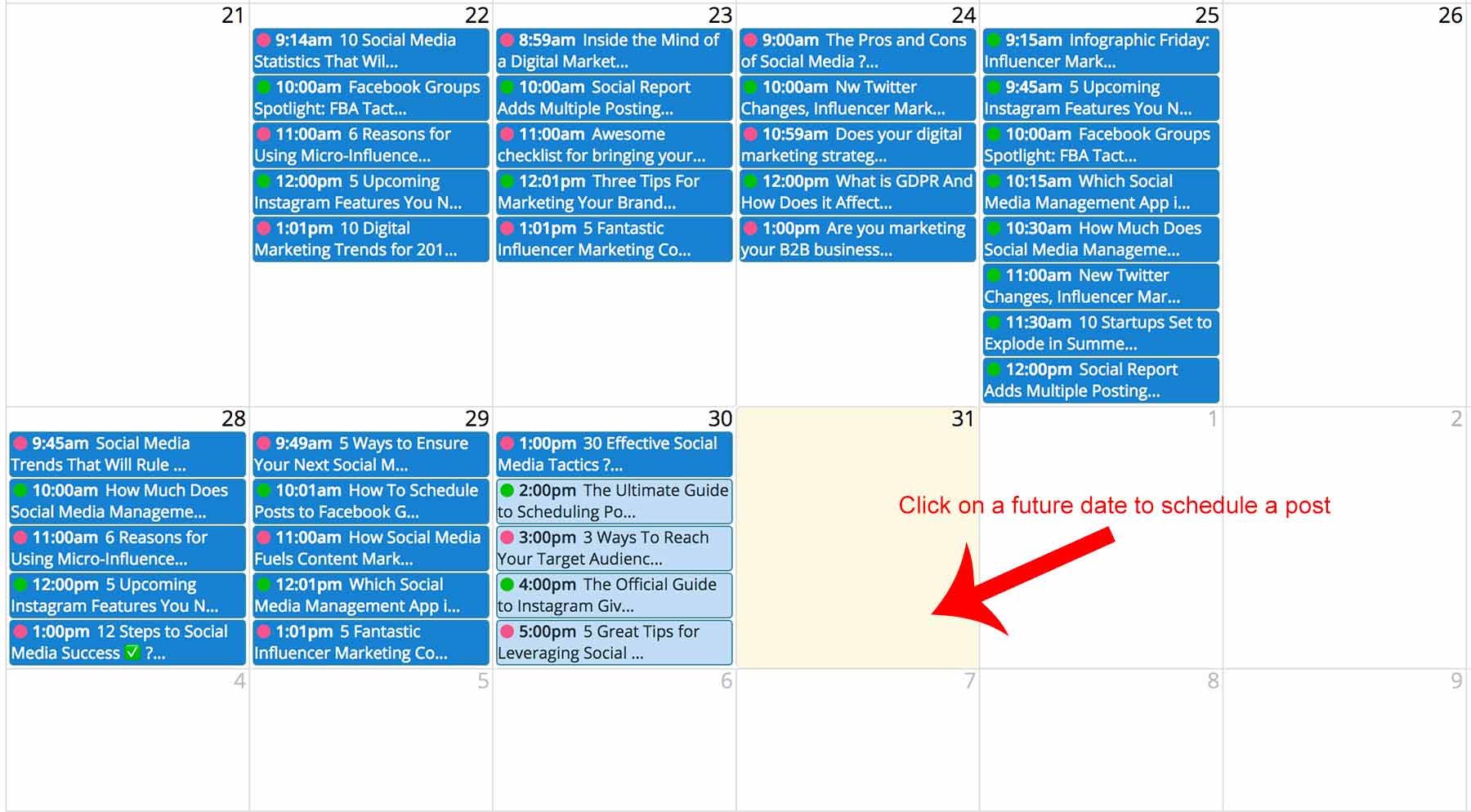 Schedule a post via calendar