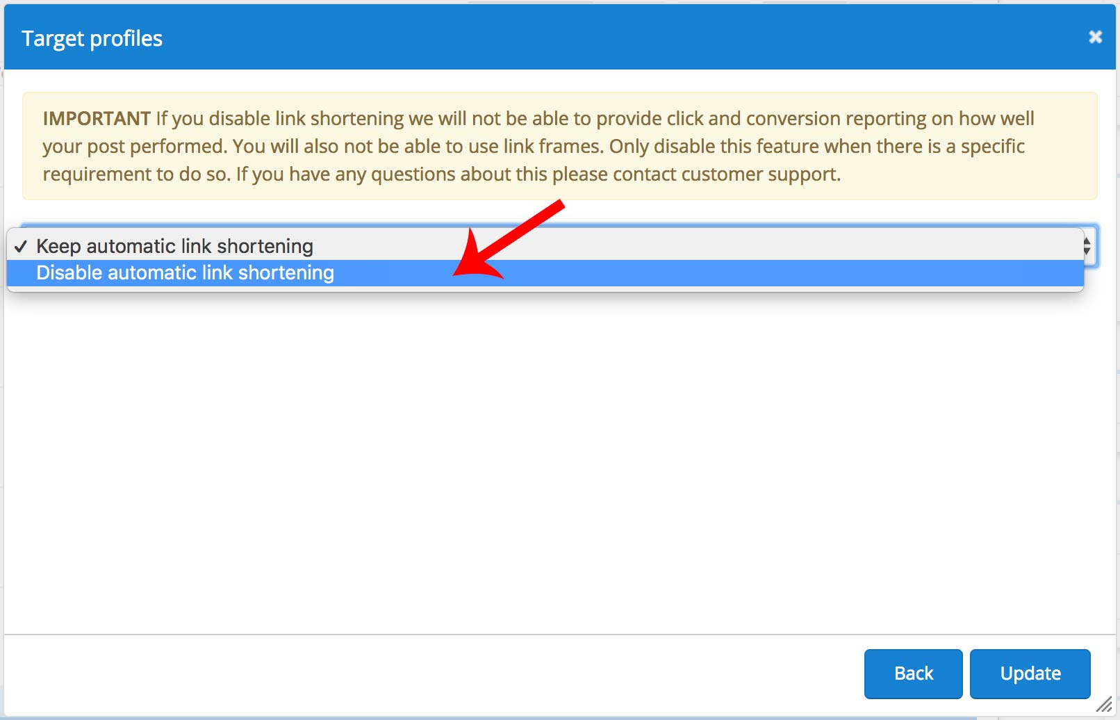 Target profiles - disable link shortening