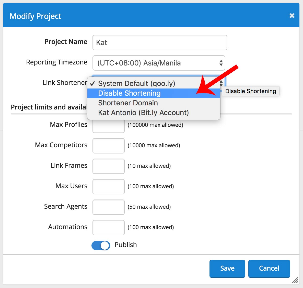 Project level - disable link shortening