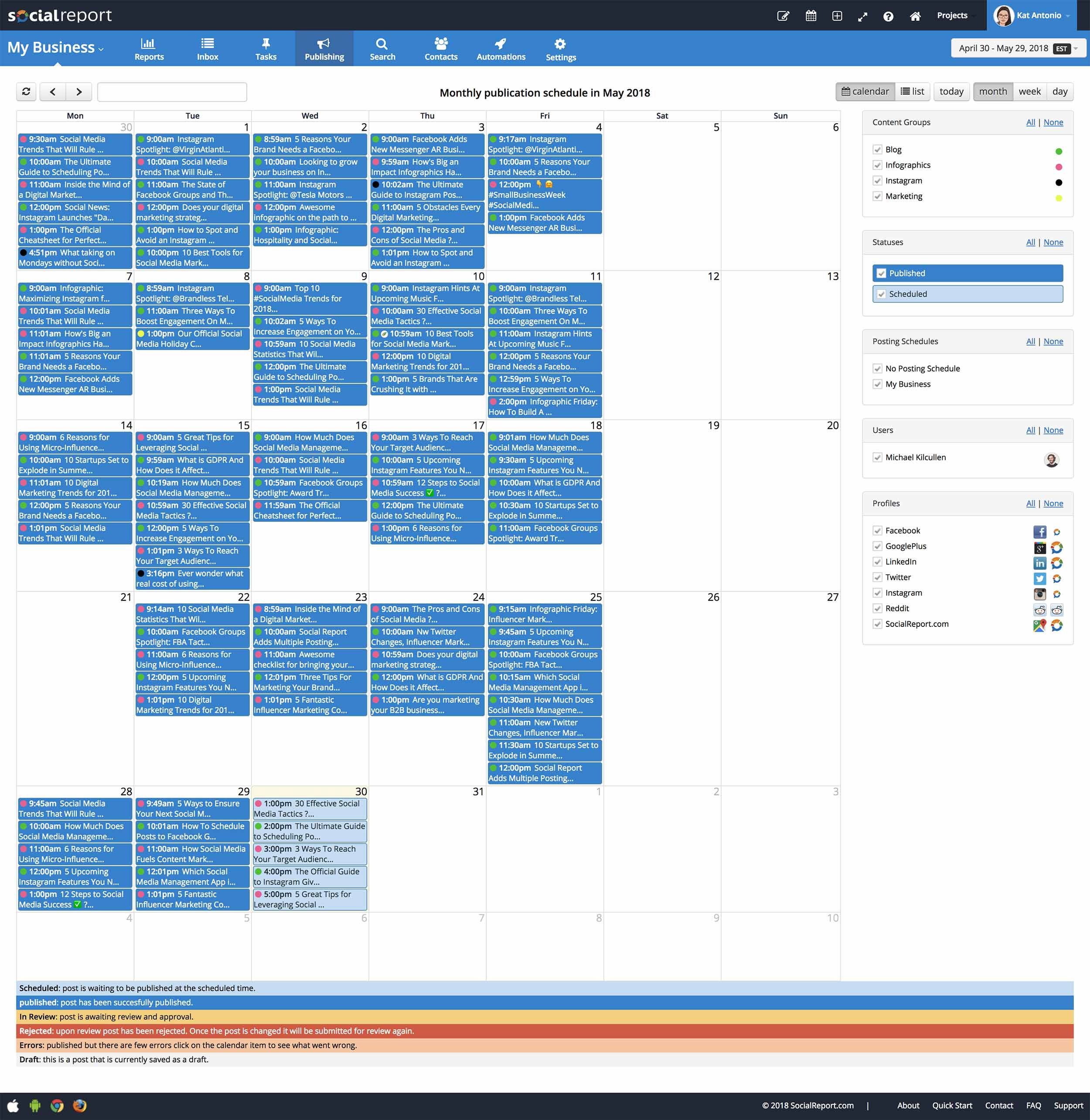 Publishing Calendar Screenshot