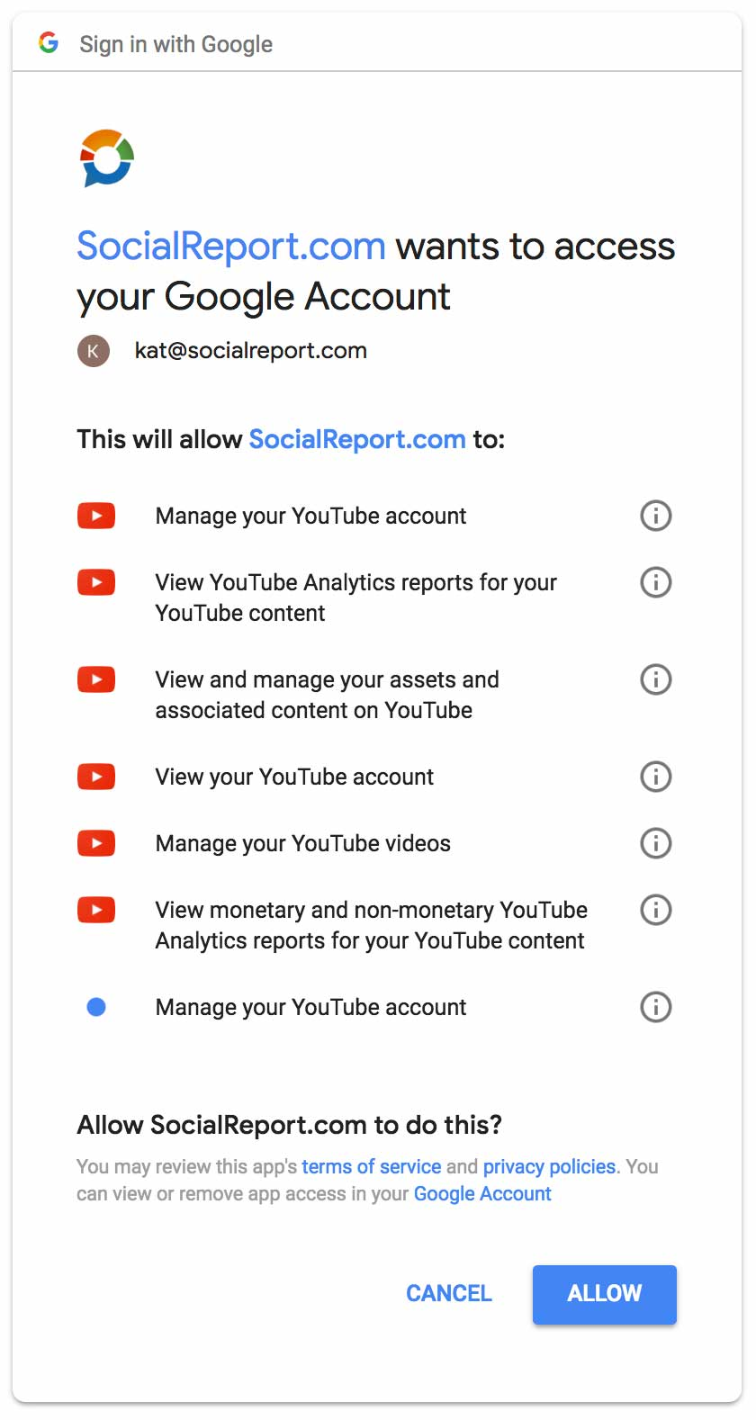 Authenticate socialreport to youtube