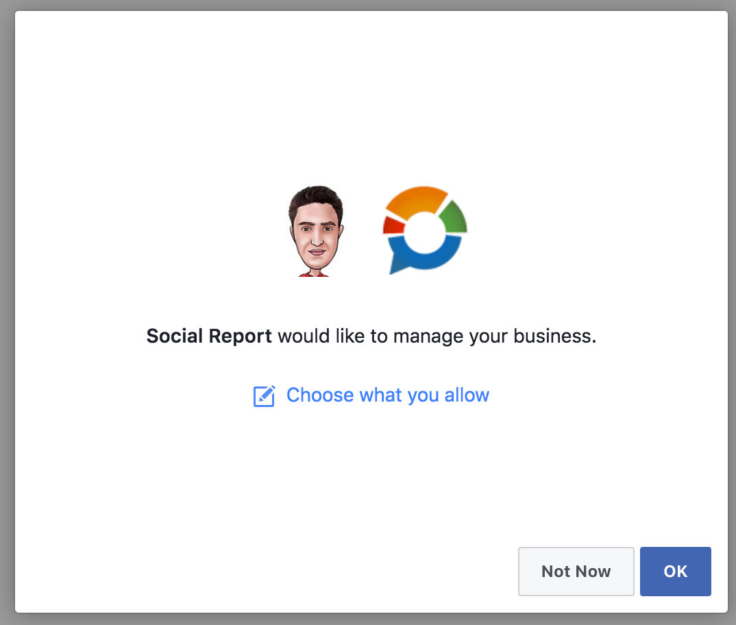 Accepting Facebook's Business Permission