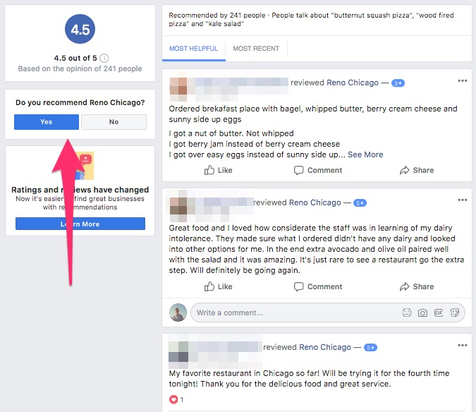 Adding a new recommendation on a Facebook business page