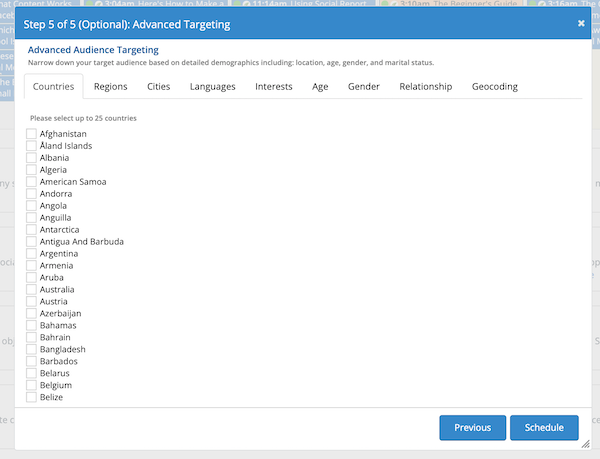 Using advanced targeting features in Social Report