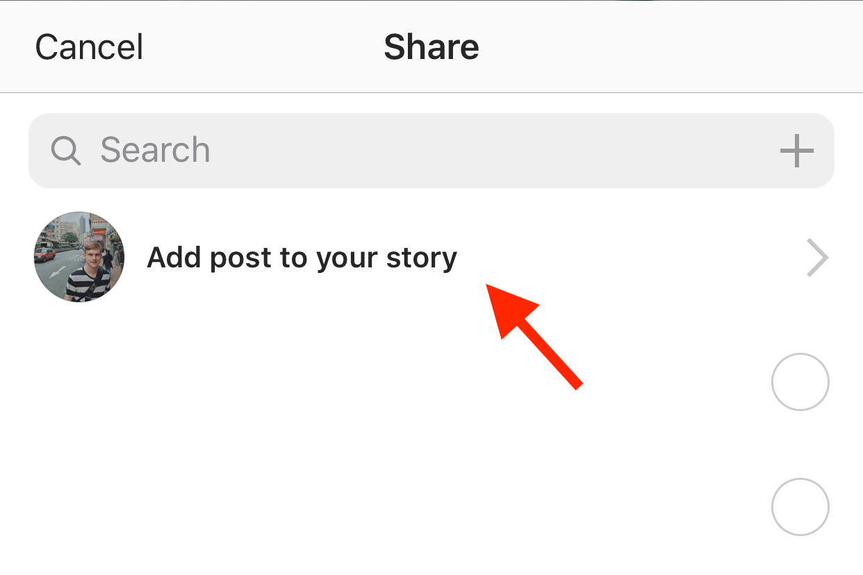 Click the add to story button