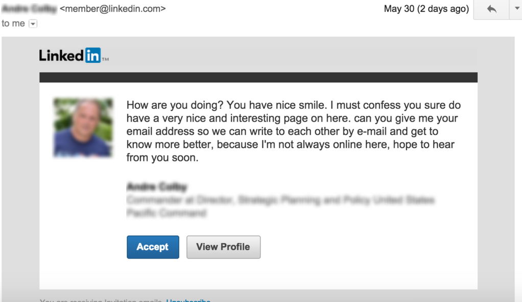 linkedin inappropriate message