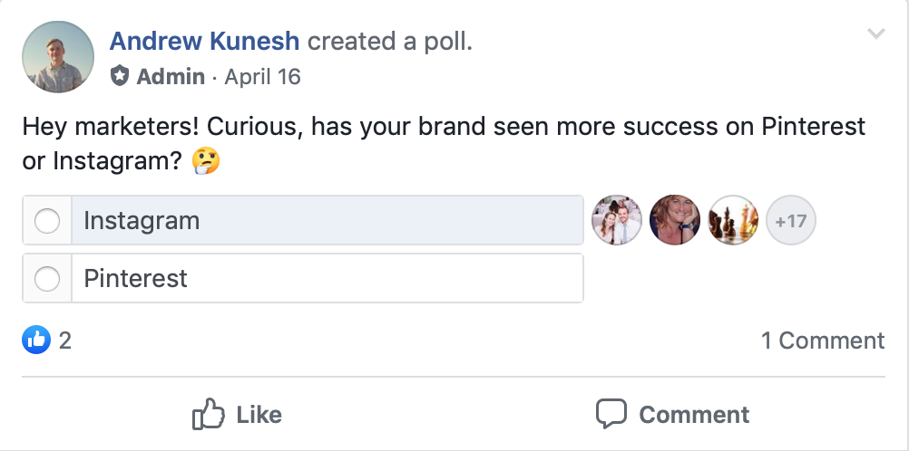Facebook Polls make for easy engagement